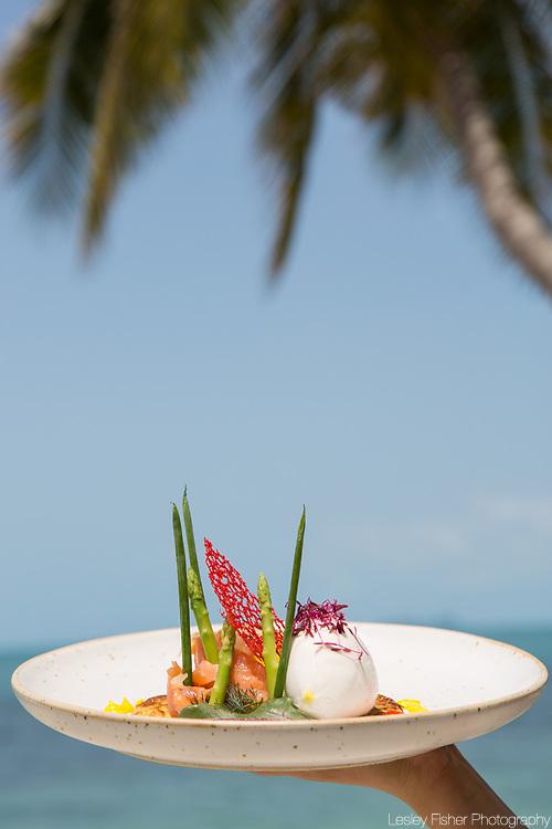 Breakfast at Sea and Sky beach front restaurant located on Ban Tai beach, Koh Samui, Thailand