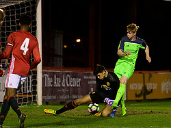 ALTRINGHAM, ENGLAND - Friday, March 10, 2017: Liverpool's Glen McAuley scores the first goal against Manchester United's goalkeeper Max Johnstone during an Under-18 FA Premier League Merit Group A match at Moss Lane. (Pic by David Rawcliffe/Propaganda)