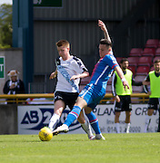 Dundee&rsquo;s Calvin Colquhoun tackles Inverness&rsquo; Miles Storey  - Inverness Caledonian Thistle  v Dundee, Ladbrokes Scottish Premiership at Caledonian Stadium <br /> <br />  - &copy; David Young - www.davidyoungphoto.co.uk - email: davidyoungphoto@gmail.com