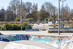 © Licensed to London News Pictures.01/04/2020. Brighton, UK. The Level in Brighton and hove, usually busy with families and students skate boarding is  virtually deserted as the Coronavirus lock down continues in its second week. Photo credit: Hugo Michiels/LNP