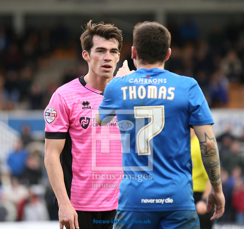 Nathan Thomas (r) of Hartlepool United accuses John Marquis of Northampton Town of trying to get him send off during the Sky Bet League 2 match at Victoria Park, Hartlepool<br /> Picture by Simon Moore/Focus Images Ltd 07807 671782<br /> 27/02/2016