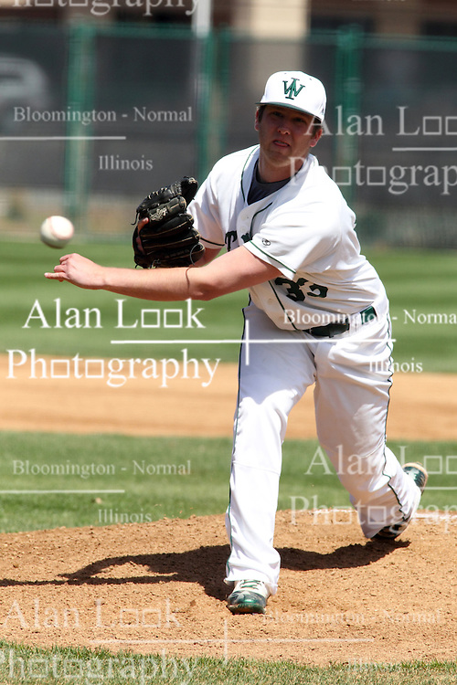 14 April 2013: Nick Mehn during an NCAA division 3 College Conference of Illinois and Wisconsin (CCIW) Baseball game between the Elmhurst Bluejays and the Illinois Wesleyan Titans in Jack Horenberger Stadium, Bloomington IL