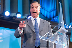© Licensed to London News Pictures. 27/08/2019. London, UK.  Brexit party leader Nigel Farage MP make a speech at the launch of their prospective parliamentary candidates for a forthcoming General Election. Photo credit: Ray Tang/LNP