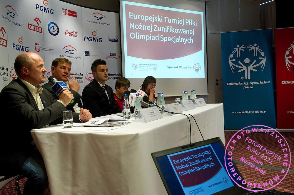(L-R) Boguslaw Galazka - Director of Special Olympics Poland & Jan Urban & Michal Zewlakow & SO athletes Special Olympics's press conference before European Football Week at Novotel Hotel in Warsaw on May 15, 2013..The mission of Special Olympics is to provide sports training and athletic competition for children and adults with intellectual disabilities...Poland, Warsaw, May 15, 2013...Picture also available in RAW (NEF) or TIFF format on special request...For editorial use only. Any commercial or promotional use requires permission...Photo by © Adam Nurkiewicz / Mediasport
