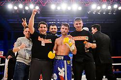 Lee Haskins celebrates victory over Luke Wilton in their Bantamweight bout - Photo mandatory by-line: Rogan Thomson/JMP - Tel: 07966 386802 - 01/03/2014 - SPORT - BOXING - The City Academy, Bristol - James DeGale v Gevorg Khatchikian.