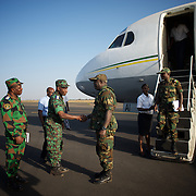 January 17, 2013 - Bamako, Mali: First group of forty five Togolese army men arrive at Bamako International Airport to take part in the international force deployed to Mali to defend the country against the islamists rebel groups advancing from the northern areas of the country...Several insurgent groups have been fighting a campaign against the Malian government for independence or greater autonomy for northern Mali, an area known as Azawad. The National Movement for the Liberation of Azawad (MNLA), an organisation fighting to make Azawad an independent homeland for the Tuareg people, had taken control of the region by April 2012...Last week the Malian government pledge to the French army to help the national troops to stop the rebellion advance towards the capital Bamako. The french troops started aerial attacks on rebel positions in the centre of the country and deployed several hundred special forces men to counter attack the advance on the ground. (Paulo Nunes dos Santos/Polaris)