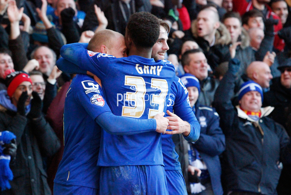 Cotterill celebrates with Gray and Shinnie during the Sky Bet Championship match between Nottingham Forest and Birmingham City at the City Ground, Nottingham, England on 28 December 2014. Photo by Jodie Minter.