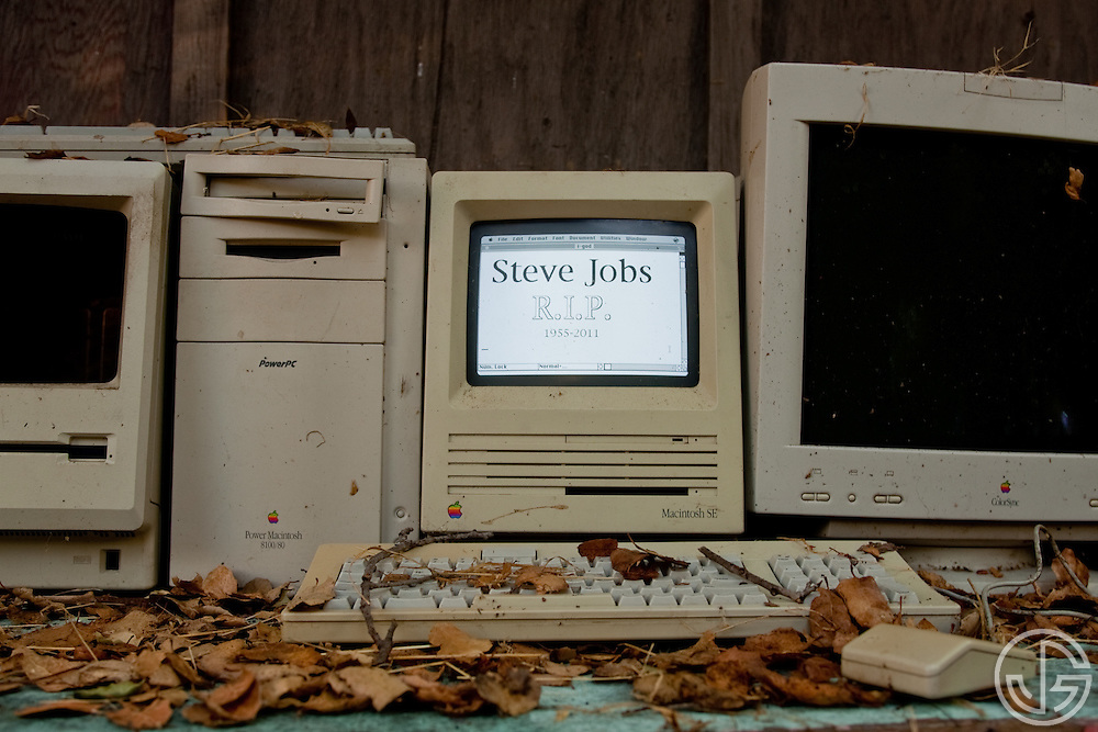 Rest In Peace Steve Jobs -- (from left) Mac Plus, Mac 8100, Mac SE, Mac Monitor