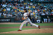 San Francisco Giants starting pitcher Jeff Samardzija (29) pitches against the Oakland Athletics at Oakland Coliseum in Oakland, California, on August 1, 2017. (Stan Olszewski/Special to S.F. Examiner)