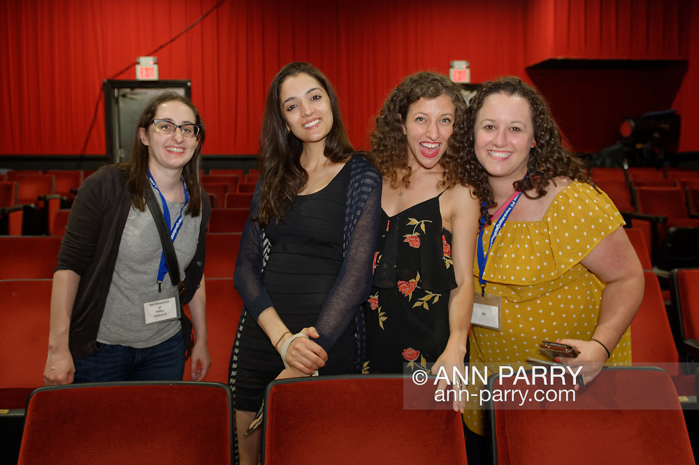 Bellmore, New York, USA. July 18, 2018. L-R, STEPHANIE DONNELLY, director and writer of short film The Adventures of Penny Patterson; AJNA JAI, actor playing Penny Patterson; BETHANY NICOLE TAYLOR, lead actress in short film Joe; and SHARA ASHLEY ZEIGER, producer and writer of film Joe, chat after the final block of films at LIIFE 2018, the Long Island International Film Expo. The comedy, sci-fi, woman directed, NYU graduate thesis short film about Penny Patterson was nominated at LIIFE for Best Student Film, and has a July 21 screening scheduled at the San Diego Comic-Con International Independent Film Festival, CCI-IFF 2018.