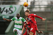 York City midfielder Danny Galbraith  header during the Sky Bet League 2 match between Yeovil Town and York City at Huish Park, Yeovil, England on 2 January 2016. Photo by Simon Davies.