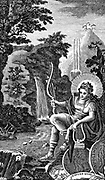 Apollo: Ancient Greek god of music, poetry, archery, prophecy and healing. Laurel was his plant. Depicted as perfection of youthful manhood. Copperplate engraving 1798.