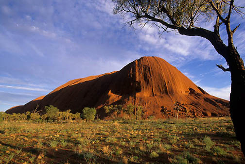 Ayers or Uluru National Park. Ayers rock is a huge monolith and sacred site to the Aborigines. Australia.