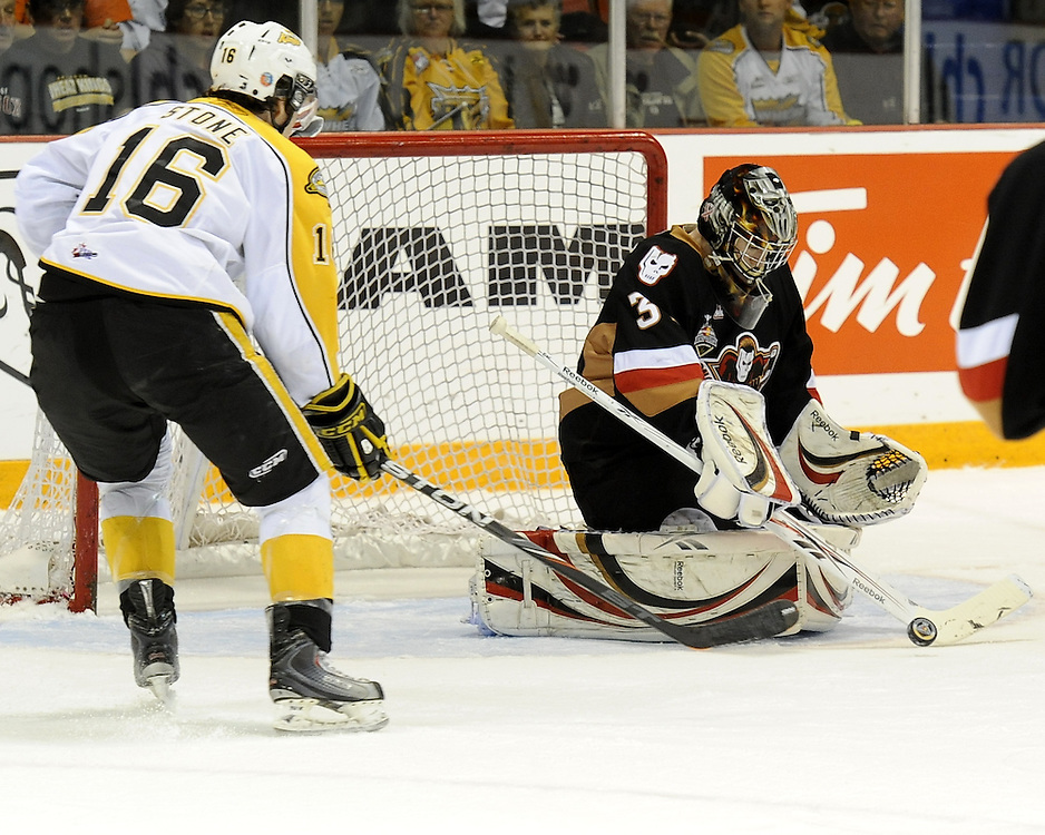 Calgary Hitmen goalie Martin Jones makes a save in the semi-final game of the 2010 MasterCard Memorial Cup in Brandon, MB on Friday May 21. Photo by Aaron Bell/CHL Images