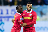 ARNHEM, Vitesse - PSV, voetbal Eredivisie, seizoen 2013-2014, 15-03-2014, Stadion de Gelredome, PSV speler Jurgen Locadia (R) heeft de 0-1 gescoord, PSV speler Jetro Willems (L).