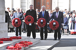 April 25, 2017 - London, London, United Kingdom - Image ©Licensed to i-Images Picture Agency. 25/04/2017. London, United Kingdom. Anzac Day Cenotaph ceremony. UK Defence Secretary Michael Fallon and Foreign Secretary Boris Johnson attend wreath laying ceremony as Australian and New Zealand servicemen who fought and died in the two world wars are commemorated. On this day in 1915 troops from Australia and New Zealand landed at the Gallipoli peninsula in Turkey, suffering heavy losses. Picture by Andrew Parsons / i-Images (Credit Image: © Andrew Parsons/i-Images via ZUMA Press)
