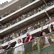 Spectators watch the 7th race from the balconies at the 138th running of the Kentucky Derby at Churchill Downs in Louisville, Ky. Saturday May 5, 2012.  Photo by David Stephenson