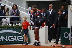 May 27, 2019 - Paris, France - Serena Williams of the US reacts as she plays against Russia's Vitalia Diatchenko during their women's singles first round match on day two of The Roland Garros 2019 French Open tennis tournament in Paris on May 27, 2019. (Credit Image: © Mehdi Taamallah/NurPhoto via ZUMA Press)