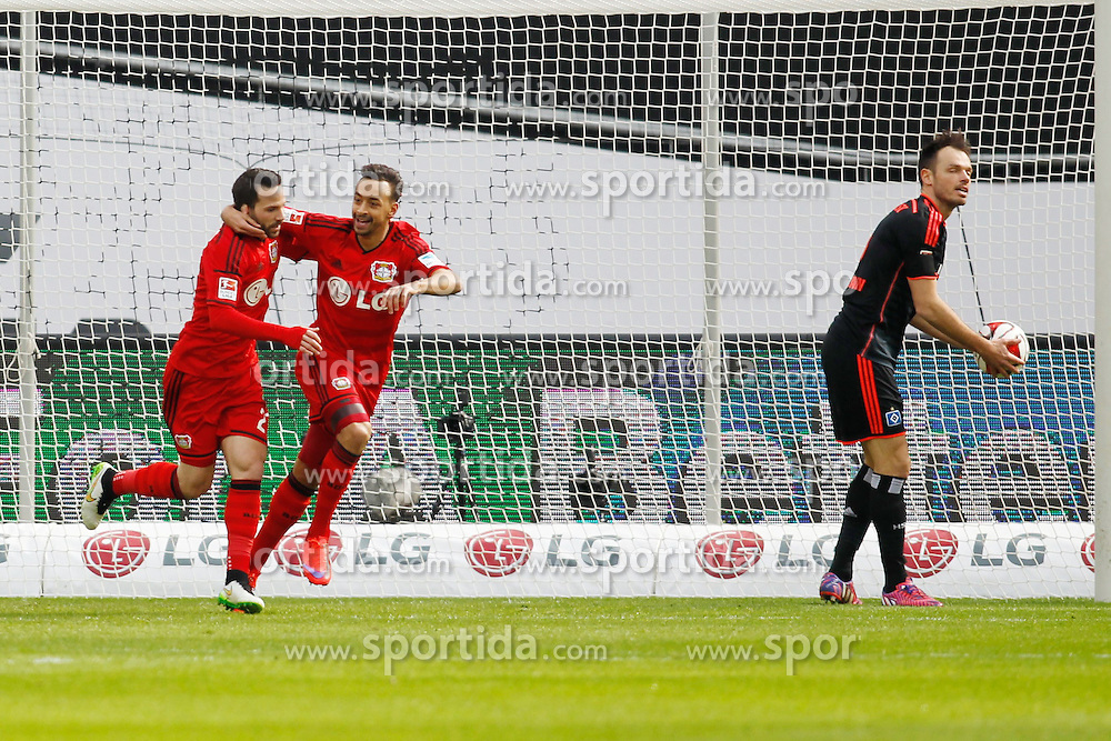 04.04.2015, BayArena, Leverkusen, GER, 1. FBL, Bayer 04 Leverkusen vs Hamburger SV, 27. Runde, im Bild Gonzalo Castro (Bayer 04 Leverkusen #27) und Karim Bellarabi (Bayer 04 Leverkusen #38) beim Torjubel nach dem Treffer zum 1:0 // during the German Bundesliga 27th round match between Bayer 04 Leverkusen and Hamburger SV at the BayArena in Leverkusen, Germany on 2015/04/04. EXPA Pictures &copy; 2015, PhotoCredit: EXPA/ Eibner-Pressefoto/ Sch&uuml;ler<br /> <br /> *****ATTENTION - OUT of GER*****