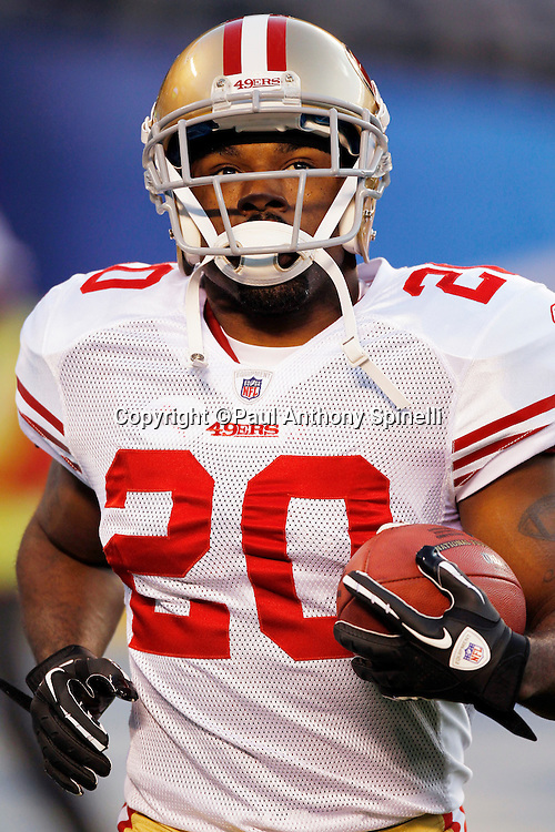 San Francisco 49ers running back Brian Westbrook (20) jogs with the ball during the NFL week 15 football game against the San Diego Chargers on Thursday, December 16, 2010 in San Diego, California. The Chargers won the game 34-7. (©Paul Anthony Spinelli)