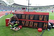 Abderrahman Samba (QAT) celebrates his World record in Men's 400m Hurdles during the Meeting de Paris 2018, Diamond League, at Charlety Stadium, in Paris, France, on June 30, 2018 - Photo Jean-Marie Hervio / KMSP / ProSportsImages / DPPI