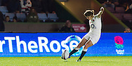 Katy McLean taking a kick, England Women v France Women in an Old Mutual Wealth Series, Autumn International match at Twickenham Stoop, Twickenham, England, on 9th November 2016. Full Time score 10-5