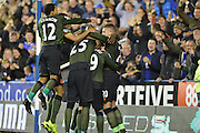 Everton's midfielder Aaron Lennon joins in the goal celebrations during the Capital One Cup match between Reading and Everton at the Madejski Stadium, Reading, England on 22 September 2015. Photo by Mark Davies.