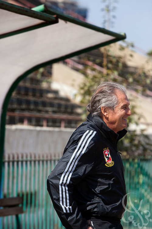 Manuel Jose, (c) the Portuguese Coach of the Egyptian football team Al-Ahly watches as his squad trains Feb 20, 2012 at the Ahly club stadium in Cairo, Egypt. Jose returned to Egypt Feb 16 to resume his job of coach of Al-Ahly in the wake of post-football match violence February 2nd, 2012 that killed 74 and injured hundreds more in the Port Said, Egypt stadium.  (Photo by Scott Nelson)