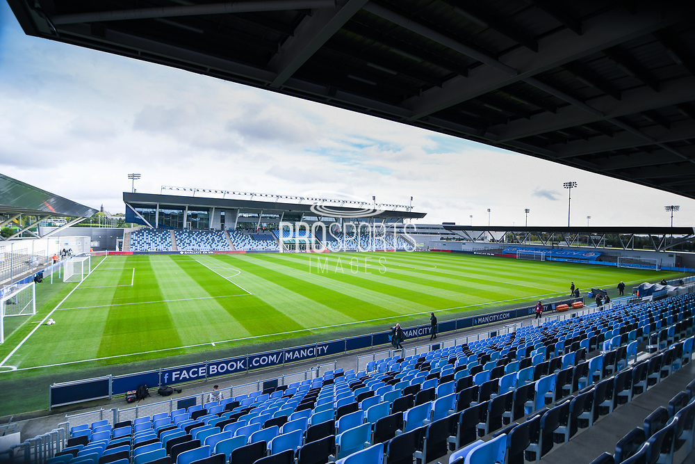 A general view of Manchester City Academy Stadium before the FA Women's Super League match between Manchester City Women and BIrmingham City Women at the Sport City Academy Stadium, Manchester, United Kingdom on 12 October 2019.