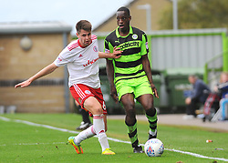 Liam Nolan of Accrington Stanley competes with Isaiah Osbourne of Forest Green Rovers - Mandatory by-line: Nizaam Jones/JMP- 30/09/2017 - FOOTBALL - New Lawn Stadium - Nailsworth, England - Forest Green Rovers v Accrington Stanley - Sky Bet League Two