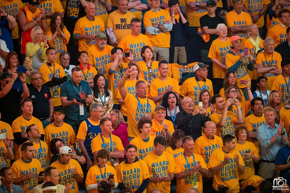 Golden State Warriors fans cheer during pregame activities before Game 1 of the Western Conference Semifinals against the Utah Jazz at Oracle Arena in Oakland, Calif., on May 2, 2017. (Stan Olszewski/Special to S.F. Examiner)