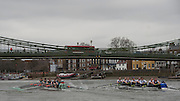 Putney, Great Britain.  CUBC, left approaching Hammersmith Bridge during the 2015 Pre Boat Race Fixture, Cambridge University Women's Boat Club vs Imperial College Women's Boat Club, Championship Course, River Thames.  England. <br /> {DOW{  {DATE}<br /> <br /> [Mandatory Credit; Peter Spurrier/Intersport-images]<br /> Crews: CUWBC:<br /> b) Hannah Evans, 2) Ashton Brown, 3) Caroline Reid*, 4) Claire Watkins*, 5) Melissa Wilson*, 6) Holly Hill, 7) Hannah Roberts, stroke, Fanny Belais and Cox, Rosemary Ostfeld.<br /> <br /> ICBC:<br /> Bow Sara PARFETT, 2. Jo THOM, 3. Victoria WATTS, 4Georgina FRANCIS,5. Michelle VELIE, 6. Ruth WHYMAN, 7. Isa von LOGA, Stroke Rebecca SHORTEN, and Cox. Sophie SHAWDON.