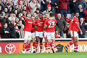 GOAL Barnsley midfielder Brad Potts (20) scores to make it 1-0 and celebrates during during the EFL Sky Bet League 1 match between Barnsley and Charlton Athletic at Oakwell, Barnsley, England on 29 December 2018.
