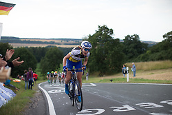 Tayler Wiles (USA) of UnitedHealthcare Cycling Team chases Kennedy up on the  Hankaberg in the third lap of Stage 2 of the Lotto Thuringen Ladies Tour - a 102.9 km road race, starting and finishing in Dortendorf on July 14, 2017, in Thuringen, Germany. (Photo by Balint Hamvas/Velofocus.com)