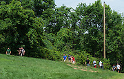 """Master's in Athletic Administration students participate in a """"Sherpa Walk"""" activity during the outdoor challenge course at The Ridges on Friday, June 26, 2015. © Ohio University / Photo by Rob Hardin"""