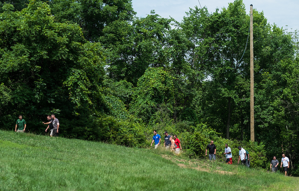 "Master's in Athletic Administration students participate in a ""Sherpa Walk"" activity during the outdoor challenge course at The Ridges on Friday, June 26, 2015. © Ohio University / Photo by Rob Hardin"