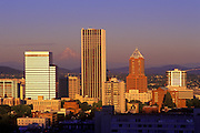 Image of the Portland, Oregon skyline with Mount Hood, Pacific Northwest