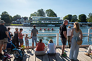 "Henley on Thames, United Kingdom, 29th June 2018, Friday, ""Henley Royal Regatta"",  Spectators watching the Qualifying races, [Time Trails] Henley Reach, River Thames, Thames Valley, England, © Peter SPURRIER, 29/06/2018"