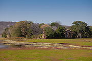 Rajbagh Lake and Maharaja of Jaipur Hunting Lodge in Ranthambhore National Park, Rajasthan, Northern India