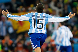 Nicolas Otamendi of Argentina celebrates after first goal of Argentina during the 2010 FIFA World Cup South Africa Round of Sixteen match between Argentina and Mexico at Soccer City Stadium on June 27, 2010 in Johannesburg, South Africa. (Photo by Vid Ponikvar / Sportida)