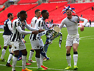 Millwall players celebrate with Aiden O'Brien the Sky Bet League 1 play-off final win at Wembley Stadium, London<br /> Picture by Glenn Sparkes/Focus Images Ltd 07939664067<br /> 20/05/2017