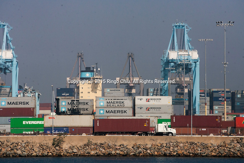 Cargo is stacked up on the docks in Port of Los Angeles.<br /> (Photo by Ringo Chiu/PHOTOFORMULA.com)