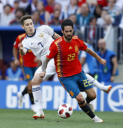 July 1, 2018 - Moscow, Russia - Round of 16 Russia v Spain - FIFA World Cup Russia 2018.Daler Kuziaev (Russia) and Isco (Spain) at Luzhniki Stadium in Moscow, Russia on July 1, 2018. (Credit Image: © Matteo Ciambelli/NurPhoto via ZUMA Press)