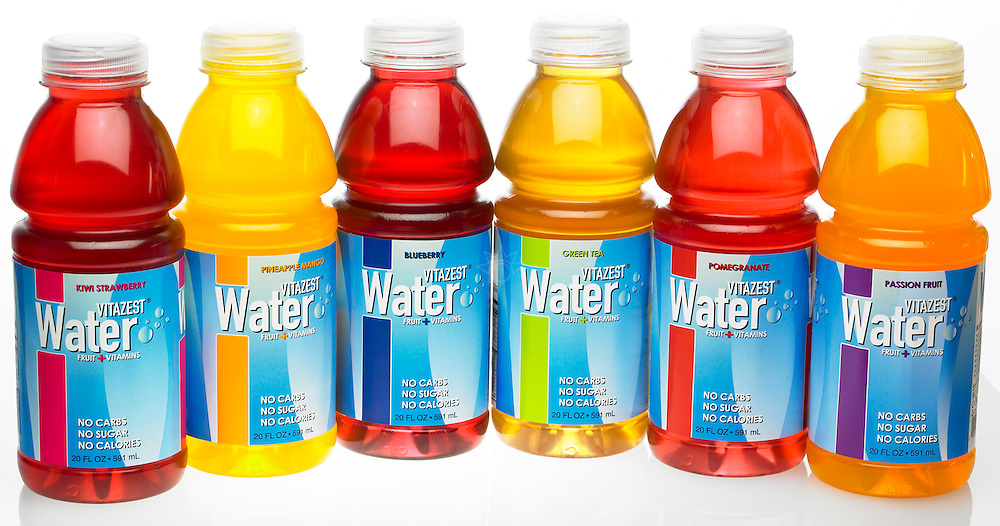 Product photograph of Vitazest's product line of vitamin enrighed water.