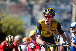 Lars BOOM of Team LottoNL-Jumbo on his Bianchi bike during the 1st of 3 climbs with 58 km to go at Mur de Huy of the 2018 La Flèche Wallonne race, Huy, Belgium, 18 April 2018, Photo by Pim Nijland / PelotonPhotos.com   All photos usage must carry mandatory copyright credit (Peloton Photos   Pim Nijland)