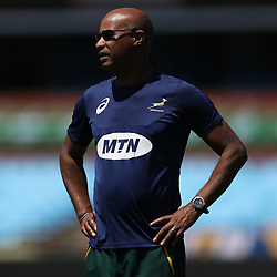 PRETORIA, SOUTH AFRICA - OCTOBER 05: Springboks media officer Rayaan Adrianse during the Rugby Championship South African Springboks captain's run at Loftus Versfeld Stadium on October 5, 2018 in Pretoria, South Africa. (Photo by Steve Haag/Getty Images)