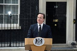 British Prime Minister David Cameron makes a speech outside Downing Street following Margaret Thatcher's Death, London, UK, Monday 8 April, 2013. Photo By Andrew Parsons / i-lmages.