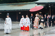 Shintoist wedding in Meiji Shrine in Tokyo (Japan)