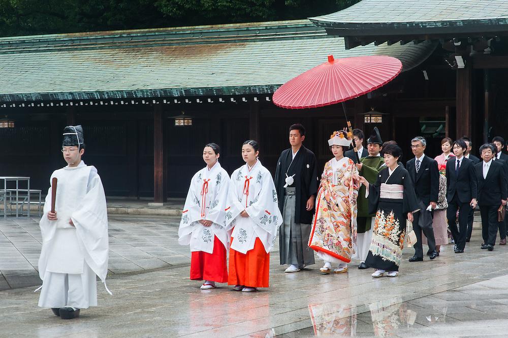 Shintoist wedding in Meiji Shrine in Tokyo (Japan)