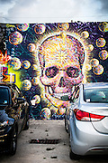 Skull mural on a wall in the parking lot of the former RC Cola bottling plant in Wynwood